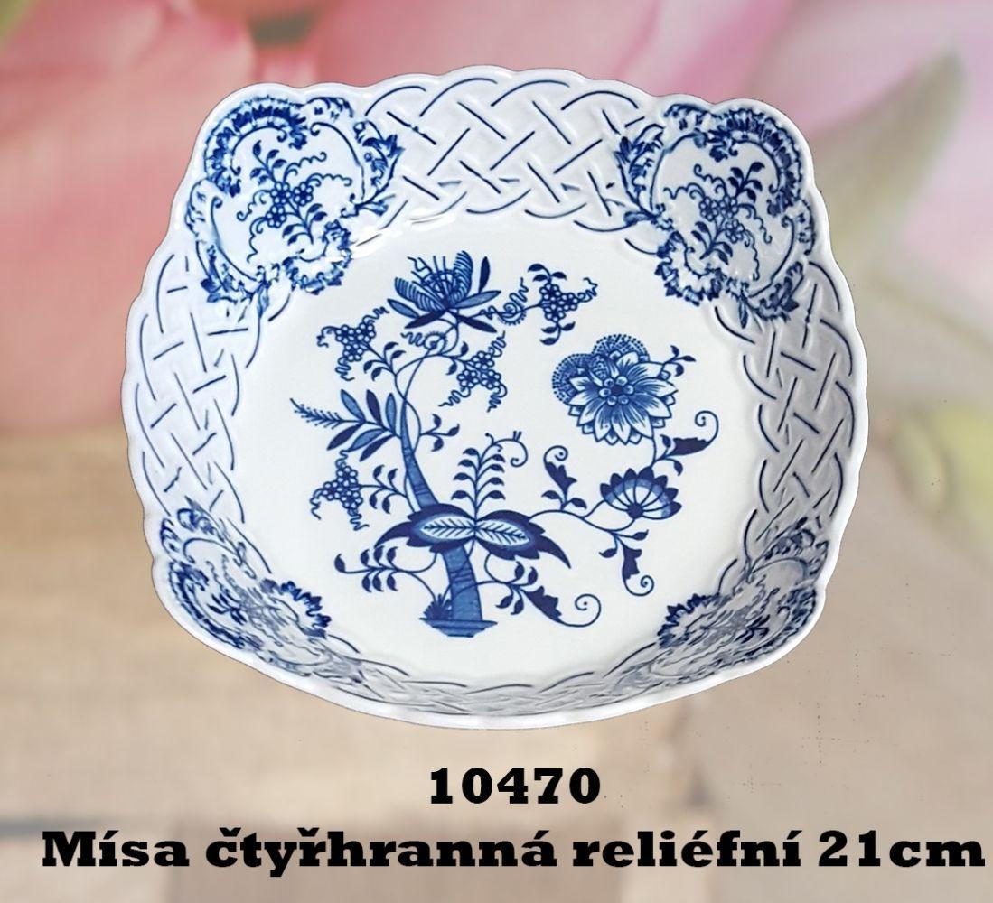 Cibulák Mísa čtyřhranná reliefní 21 cm originální cibulákový porcelán Dubí, cibulový vzor,