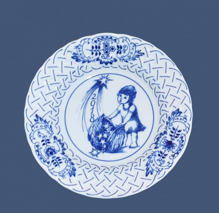 Cibulák výroční talíř 2018, 18 cm originální cibulákový porcelán Dubí , cibulový vzor,