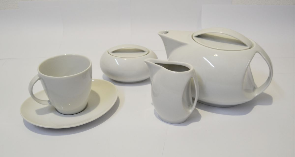 Loos čajová souprava bílý porcelán Thun 6 osob 15 dílů český porcelán Nová Role