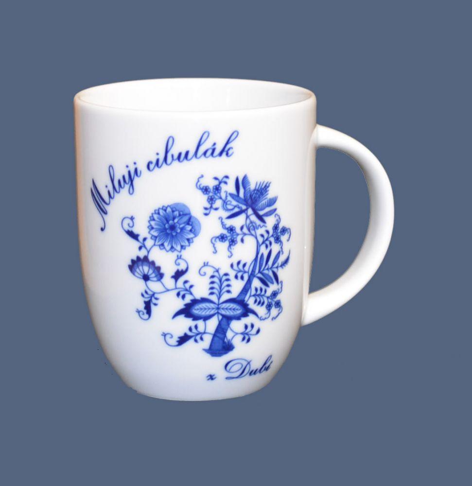 Cibulák hrnek Miluji cibulák Darja 0,26 l , cibulový vzor, český porcelán Dubí