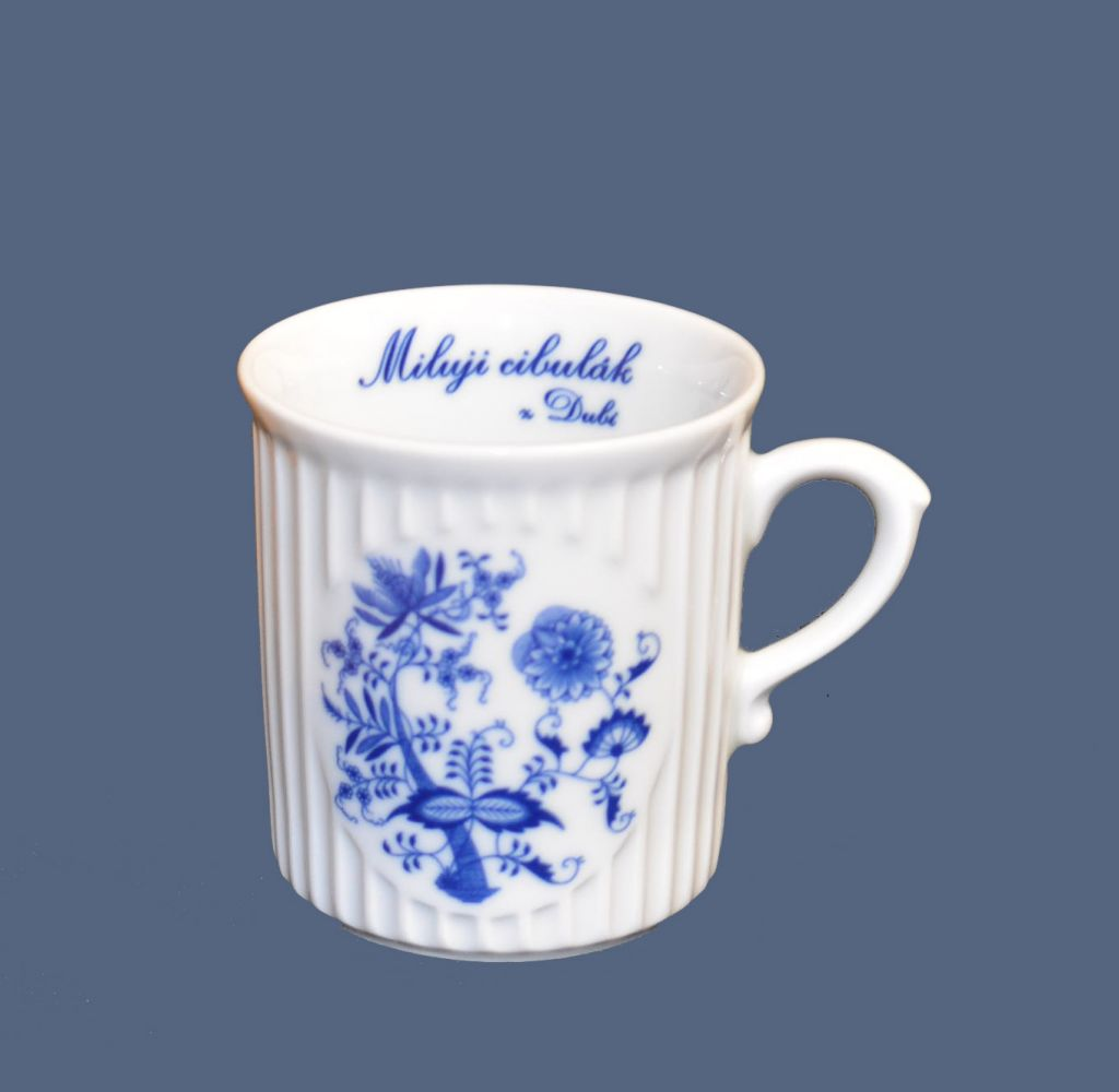 Cibulák hrnek Miluji cibulák Mozart 0,25 l , cibulový vzor, český porcelán Dubí