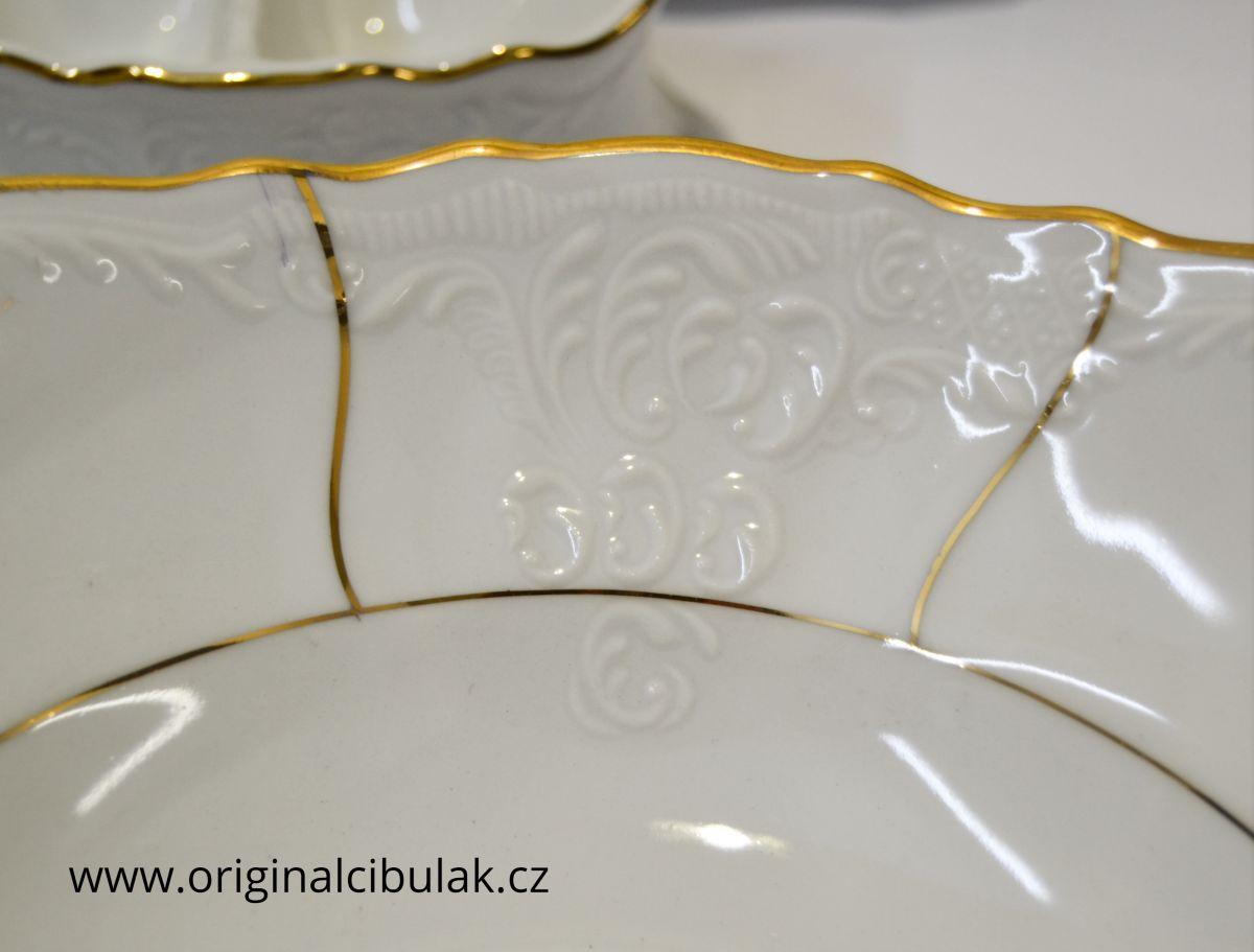 jídelní souprava zlatý pruh porcelán Thun Bernadotte 6 osob 25 dílů český porcelán Nová Role
