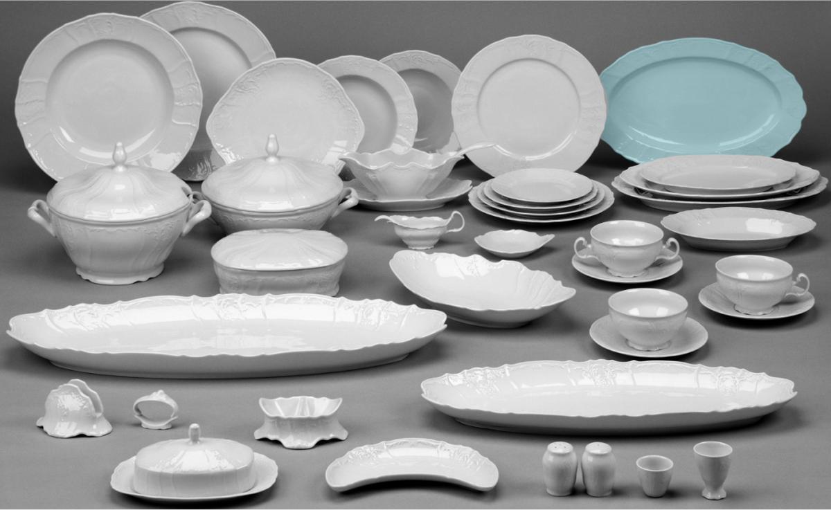 talířová souprava bílý porcelán Bernadotte Thun 6 osob 18 dílů český porcelán Nová Role