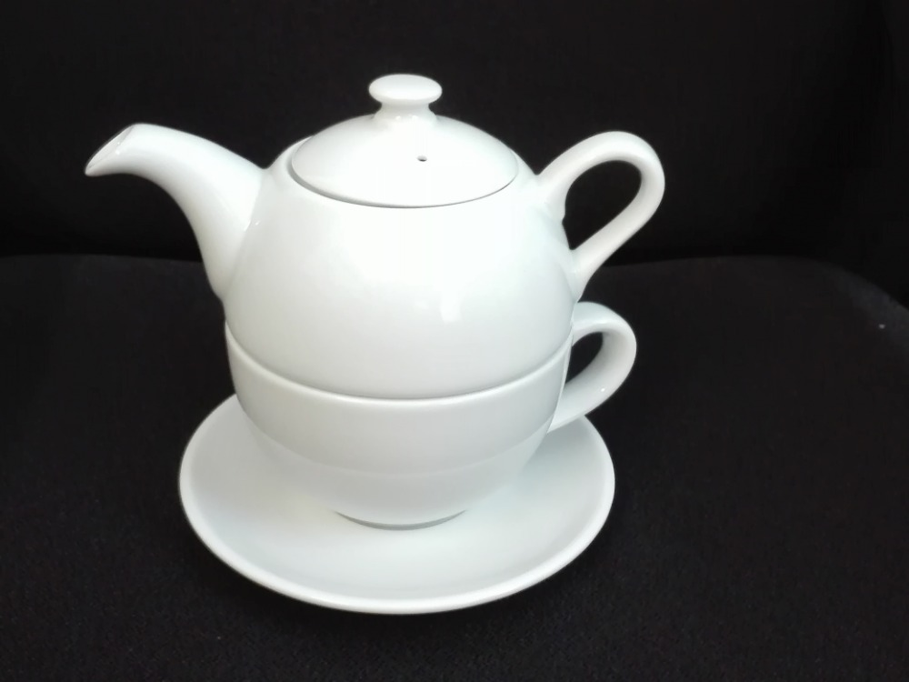 Čajová souprava bílá Duo třídílná 0,45 l bílý porcelán Dubí