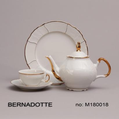 Bernadotte čajová souprava zlacená porcelán Thun 6 osob 15 dílů český porcelán Nová Role