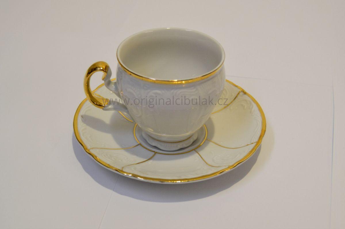 Bernadotte kávová souprava zlatý pruh porcelán Thun 6 osob 15 dílů český porcelán Nová Role