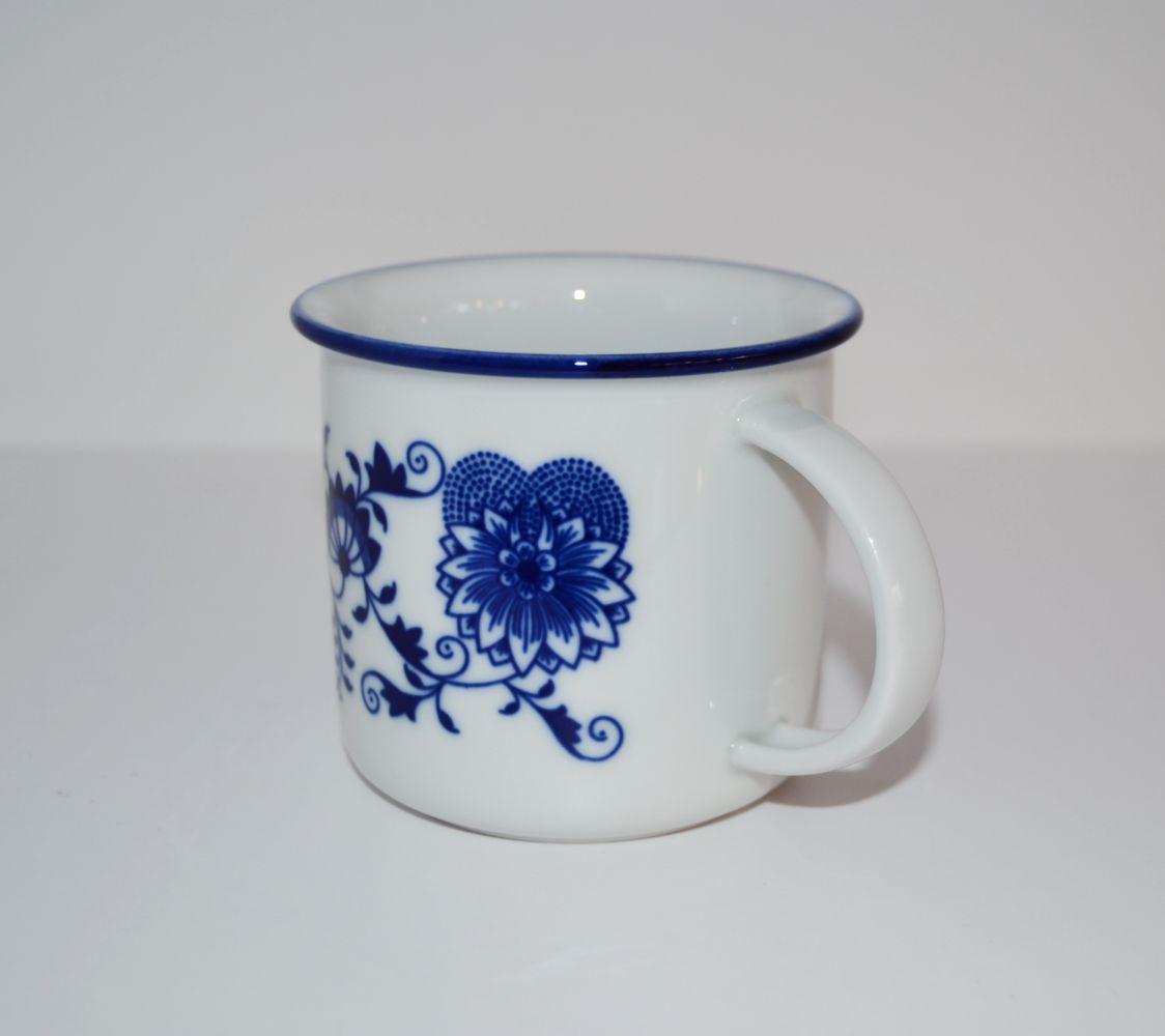 hrnek Tina 0,38 l velký originální cibulákový porcelán Dubí, cibulový vzor,