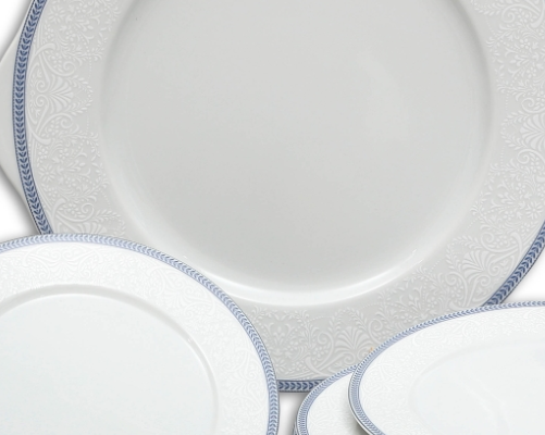 koláčová souprava Opál krajka modrá Thun 7 dílů český porcelán