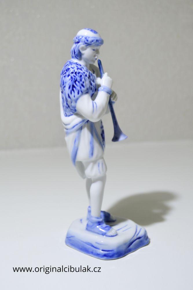 cibulák pasáček s píšťalkou 18 cm český porcelán Dubí Royal Dux Bohemia 2.jakost