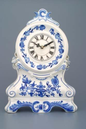 cibulák krbové hodiny s růžemi 28 cm originální český porcelán Dubí