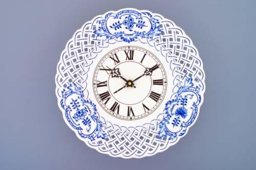 cibulák hodiny prolamované 27 cm originální český porcelán Dubí