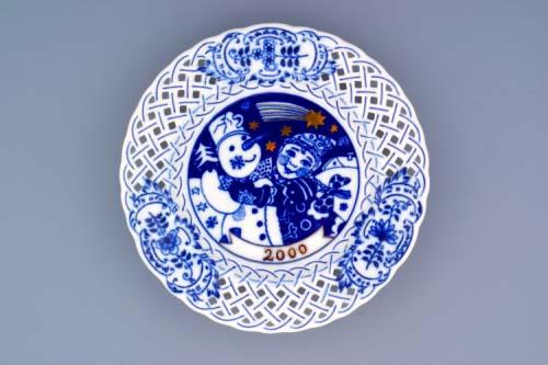 Cibulák Talíř výroční 2000 závěsný prolamovaný 18 cm , originální cibulákový porcelán Dubí, cibulový vzor,