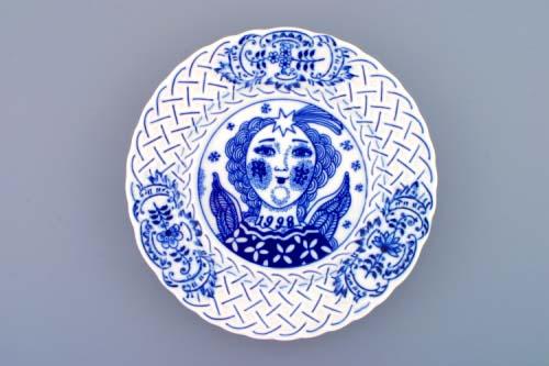 Cibulák Talíř výroční 1998 závěsný reliéfní 18 cm originální cibulákový porcelán Dubí , cibulový vzor,