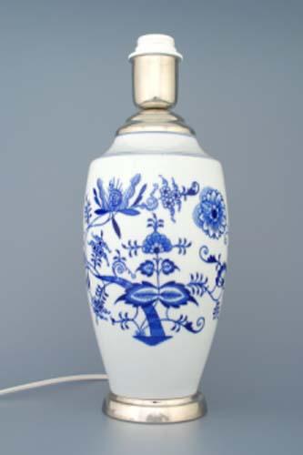 Cibulák Lampový podstavec váza 1211 s monturou 27 cm originální cibulákový porcelán Dubí , cibulový vzor,