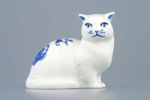 Cibulák Kočka sedící 8 cm originální cibulákový porcelán Dubí , cibulový vzor,