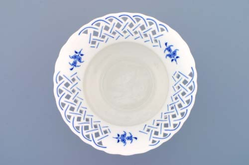 Cibulák Květináč prolamovaný 19 cm originální cibulákový porcelán Dubí , cibulový vzor,