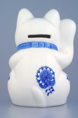 Cibulák Kočka zvací kasička 16 cm originální cibulákový porcelán Dubí, cibulový vzor,