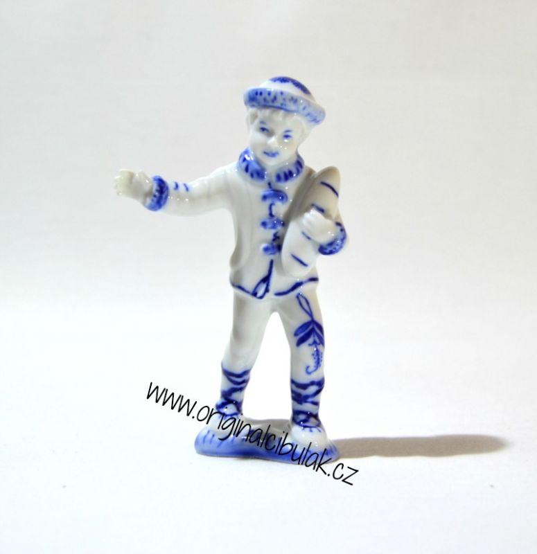 Cibulák Chlapec 10,8 cm originální cibulákový porcelán Dubí, cibulový vzor,