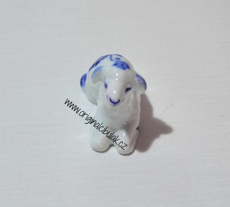 Cibulák Jehně klečící 5,8 cm originální cibulákový porcelán Dubí, cibulový vzor,
