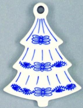 Cibulák Vánoční ozdoba stromeček 8,5 cm originální cibulákový porcelán Dubí, cibulový vzor,