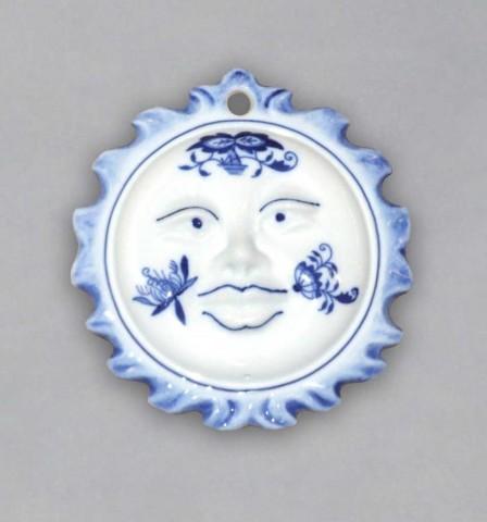Cibulák Vánoční ozdoba sluníčko oboustranné 10 cm originální cibulákový porcelán Dubí, cibulový vzor,