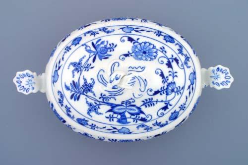 Cibulák mísa zeleninová oválná s víkem bez výřezu 1,50 l originální cibulákový porcelán Dubí, cibulový vzor