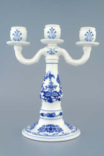 Cibulák Svícen tříramenný 25 cm originální cibulákový porcelán Dubí, cibulový vzor,