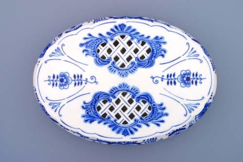 Cibulák Bonboniéra oválná na 1 kg s víkem 29 cm originální cibulákový porcelán Dubí, cibulový vzor,