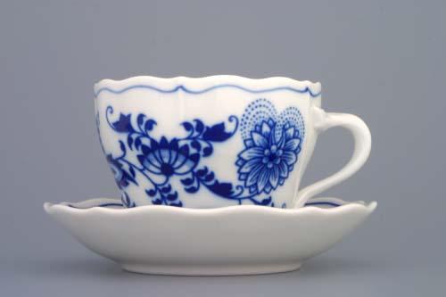 Cibulák šálek + podšálek A/2+A/1 0,17 l originální cibulákový porcelán Dubí, cibulový vzor,