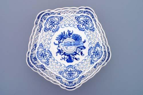 etažér cibulák 3 dílný mísy pětihranné prolamované 36 cm originální český porcelán Dubí