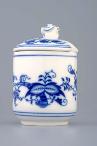 Cibulák Hořčičník s víčkem s výřezem 0,10 l originální cibulákový porcelán Dubí, cibulový vzor