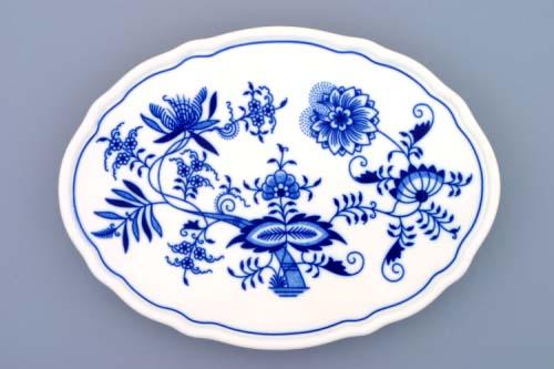 Cibulák Podnos oválový na třech nožkách 24,5 cm originální cibulákový porcelán Dubí, cibulový vzor