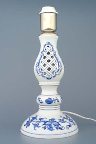 Cibulák Lampový podstavec prolamovaný s monturou 37 cm originální cibulákový porcelán Dubí, cibulový vzor