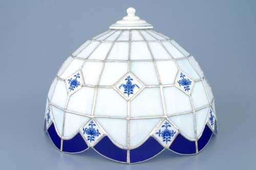Cibulák stínítko vitráž k lampovému podstavci neprolamované 35 cm originální cibulákový porcelán Dubí, cibulový vzor