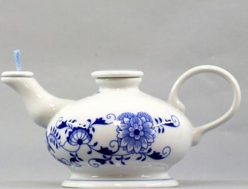 Cibulák Betlémské světlo 12,3 cm olejová lampa, originální cibulákový porcelán Dubí, cibulový vzor
