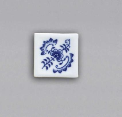Cibulák Magnetka vitráž čtvereček 5 cm originální cibulákový porcelán Dubí, cibulový vzor,