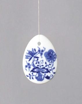 Cibulák Velikonoční ozdoba vajíčko závěs 5,5 cm originální cibulákový porcelán Dubí, cibulový vzor