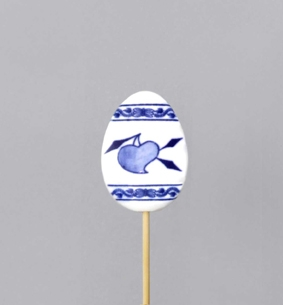 Cibulák Velikonoční ozdoba vajíčko zápich 29cm, originální cibulákový porcelán Dubí, cibulový vzor,