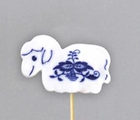 Cibulák Velikonoční ozdoba ovečka zápich 29 cm, originální cibulákový porcelán Dubí, cibulový vzor,