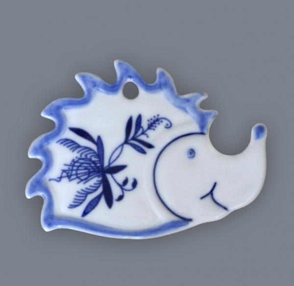 Cibulák Magnetka ježek 6 cm originální cibulákový porcelán Dubí, cibulový vzor,