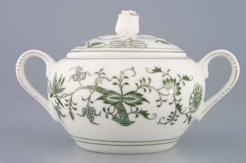 Cukřenka s oušky s víčkem bez výřezu 0,30 l originální cibulák zelený s patinou, cibulový porcelán Dubí