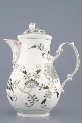 Konvice kávová s víčkem 1,55 l originální cibulák zelený s platinou, cibulový porcelán Dubí