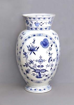 Cibulák Váza 1610, 48 cm, originální cibulákový porcelán Dubí, cibulový vzor,
