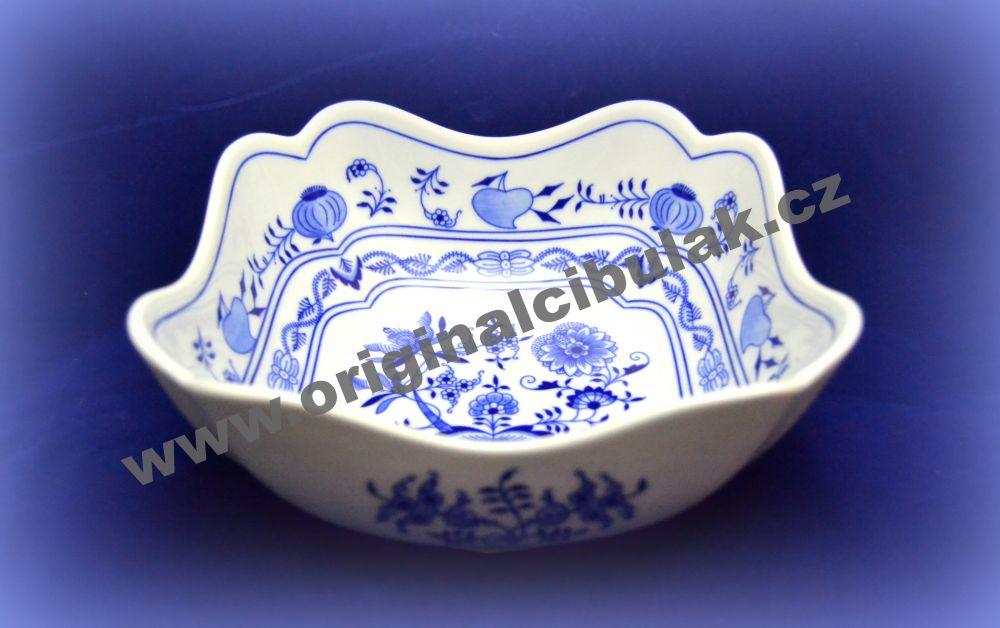 Cibulák mísa salátová čtyřhranná vysoká 21 cm originální cibulákový porcelán Dubí, cibulový vzor