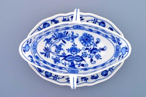 Cibulák omáčník oválný s podstavcem a 2 uchy 0,55 l originální cibulákový porcelán Dubí, cibulový vzor,