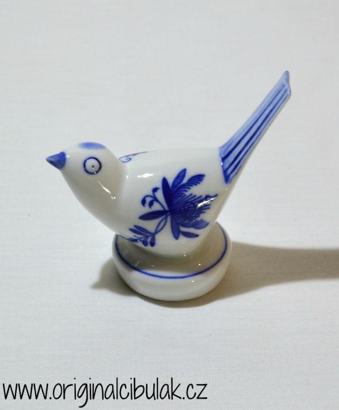 Cibulák Ptáček II, 9 cm originální cibulákový porcelán Dubí, cibulový vzor,
