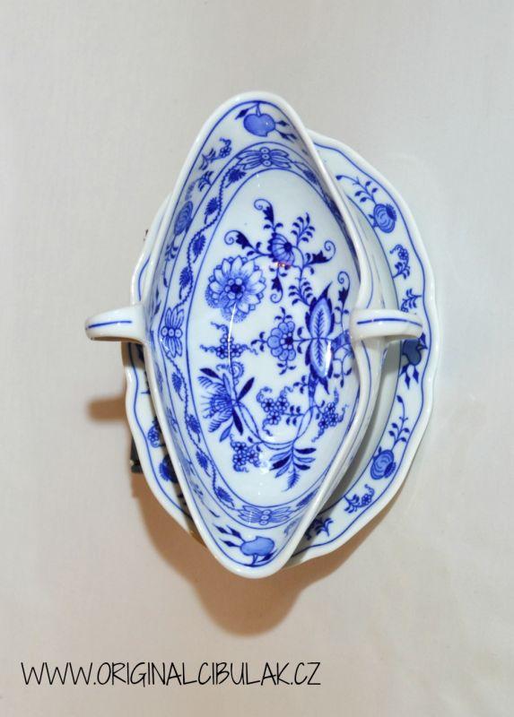 Cibulák omáčník oválný s podstavcem a dvěma uchy 0,55 l originální cibulákový porcelán Dubí, cibulový vzor
