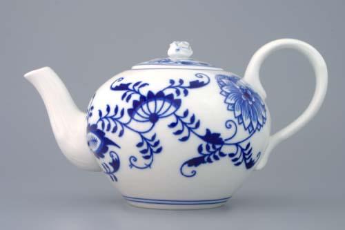 Cibulák konvice čajová s víčkem, 0,65 l, originální cibulákový porcelán Dubí, cibulový vzor