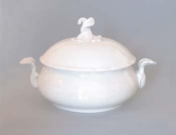 Mísa porcelán bílý zeleninová kulatá s víkem bez výřezu 2,0 l Český porcelán Dubí1. jakost