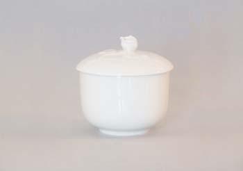 Cukřenka porcelán bílý bez oušek s víčkem bez výřezu 0,20 l Český porcelán